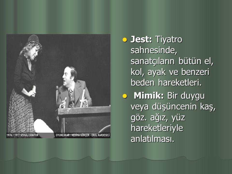 Jest: Tiyatro sahnesinde, sanatçıların bütün el, kol, ayak ve benzeri beden hareketleri.