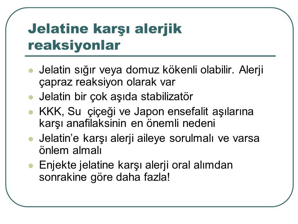 Jelatine karşı alerjik reaksiyonlar