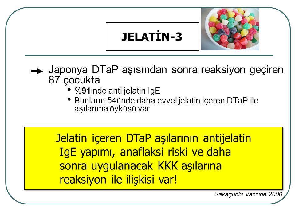 Jelatin içeren DTaP aşılarının antijelatin