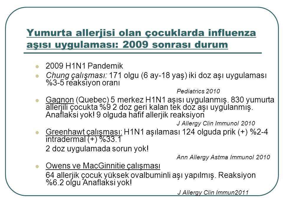 Yumurta allerjisi olan çocuklarda influenza aşısı uygulaması: 2009 sonrası durum