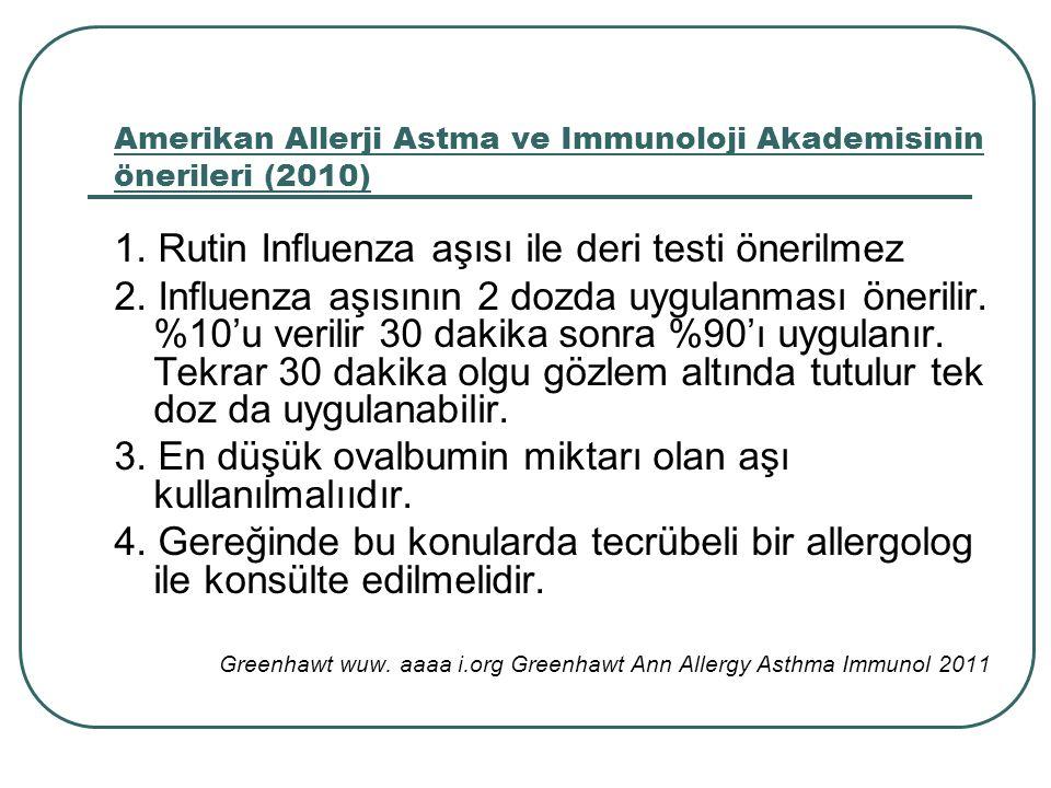 Amerikan Allerji Astma ve Immunoloji Akademisinin önerileri (2010)