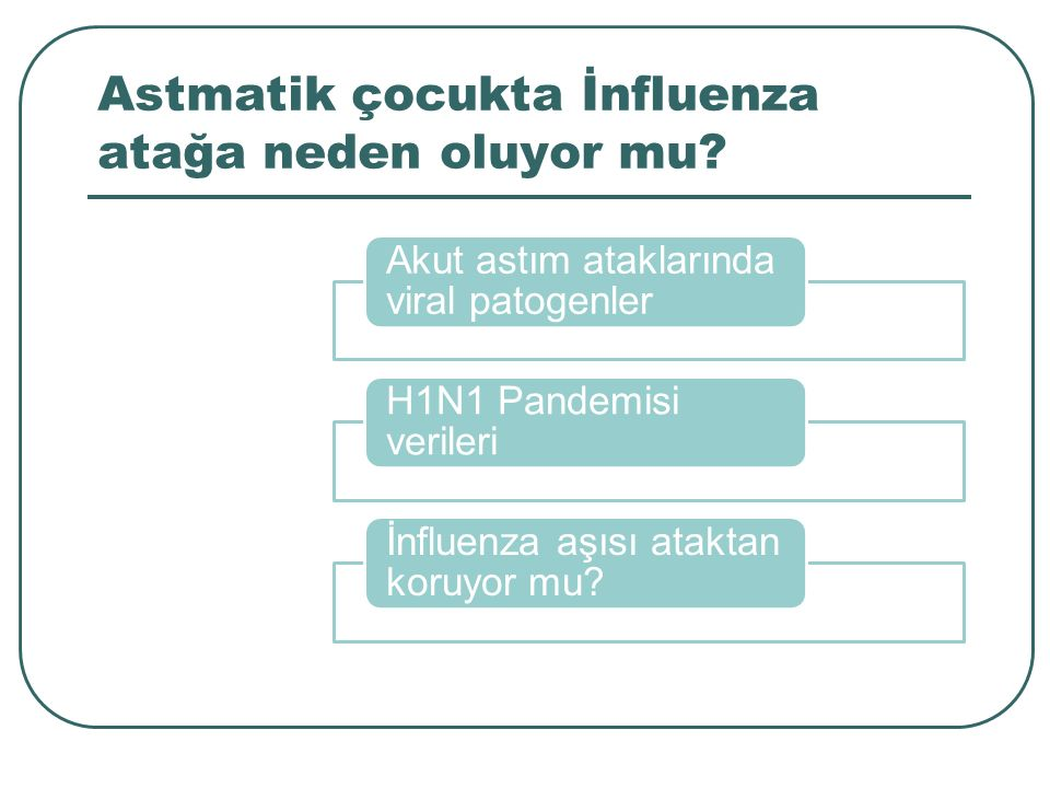 Astmatik çocukta İnfluenza atağa neden oluyor mu