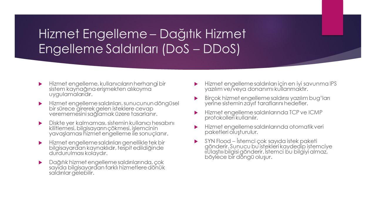 Hizmet Engelleme – Dağıtık Hizmet Engelleme Saldırıları (DoS – DDoS)