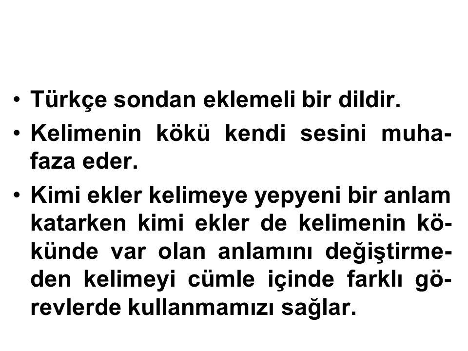 Türkçe sondan eklemeli bir dildir.
