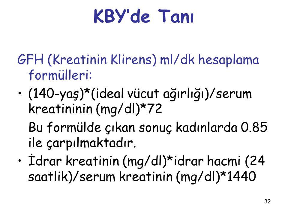 KBY'de Tanı GFH (Kreatinin Klirens) ml/dk hesaplama formülleri: