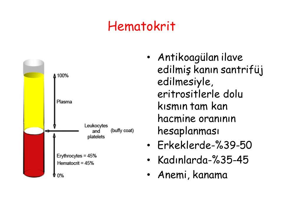 Hematokrit Antikoagülan ilave edilmiş kanın santrifüj edilmesiyle, eritrositlerle dolu kısmın tam kan hacmine oranının hesaplanması.