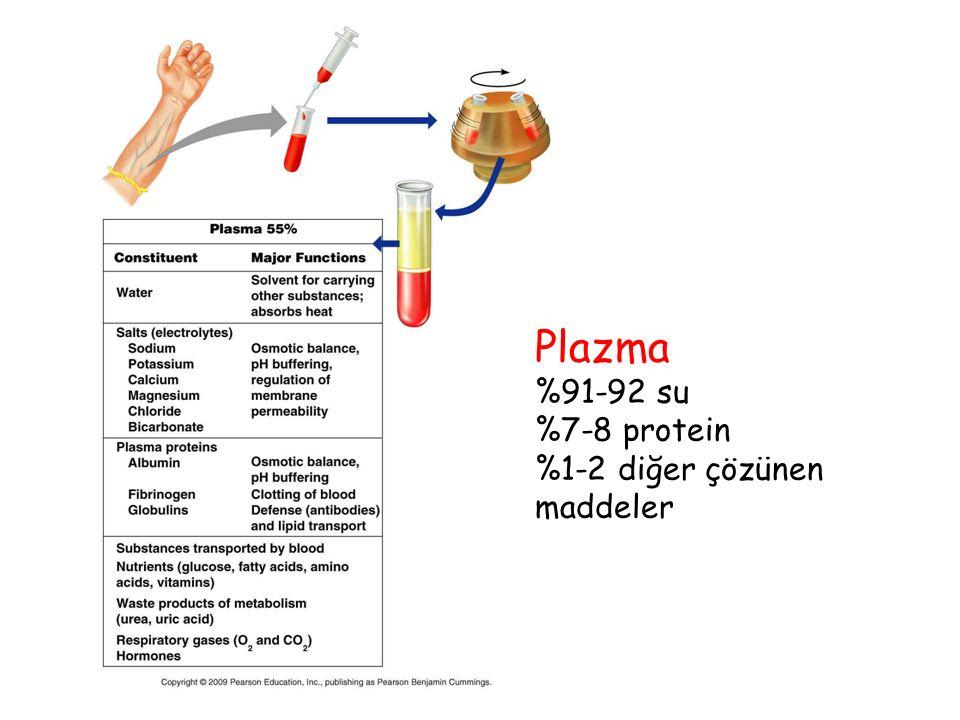 Plazma %91-92 su %7-8 protein %1-2 diğer çözünen maddeler
