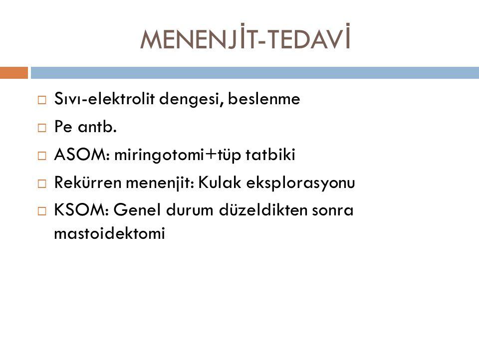 MENENJİT-TEDAVİ Sıvı-elektrolit dengesi, beslenme Pe antb.