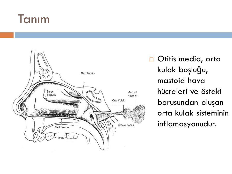 Tanım Otitis media, orta kulak boşluğu, mastoid hava hücreleri ve östaki borusundan oluşan orta kulak sisteminin inflamasyonudur.