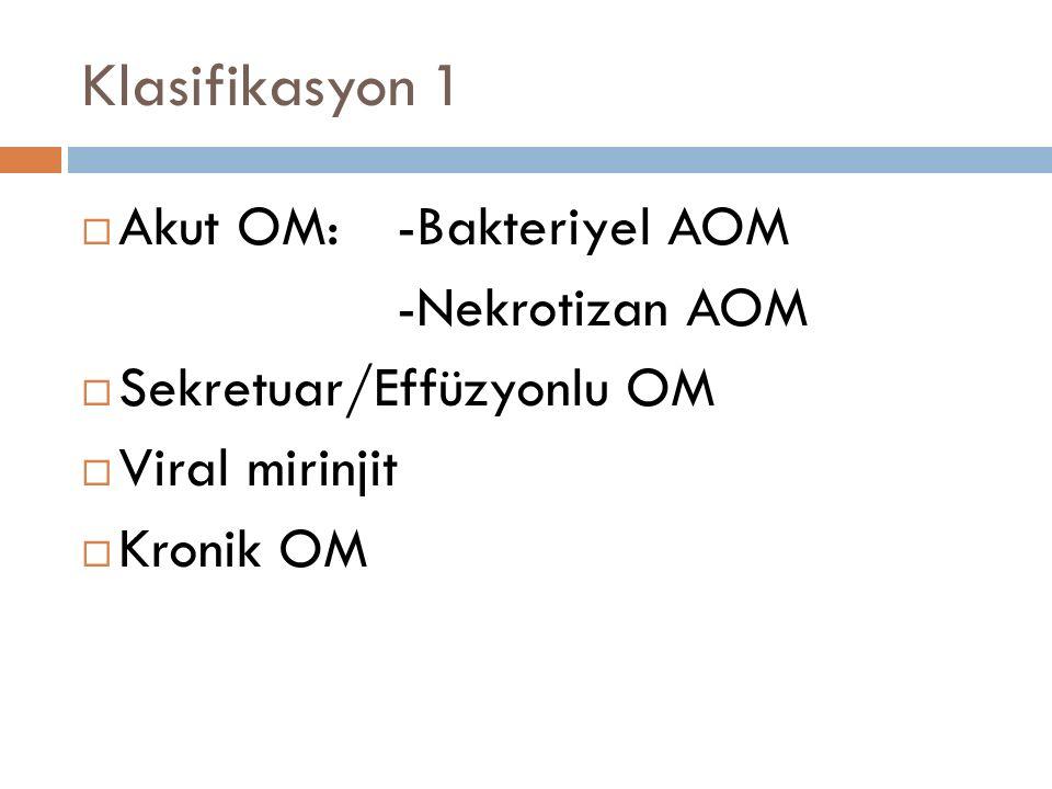 Klasifikasyon 1 Akut OM: -Bakteriyel AOM -Nekrotizan AOM