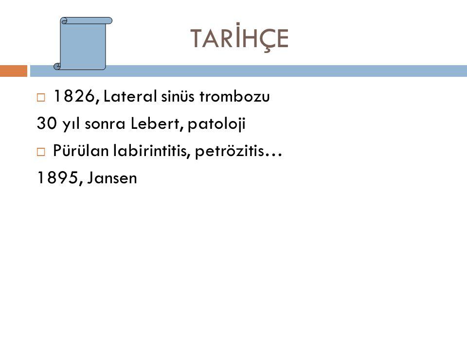TARİHÇE 1826, Lateral sinüs trombozu 30 yıl sonra Lebert, patoloji