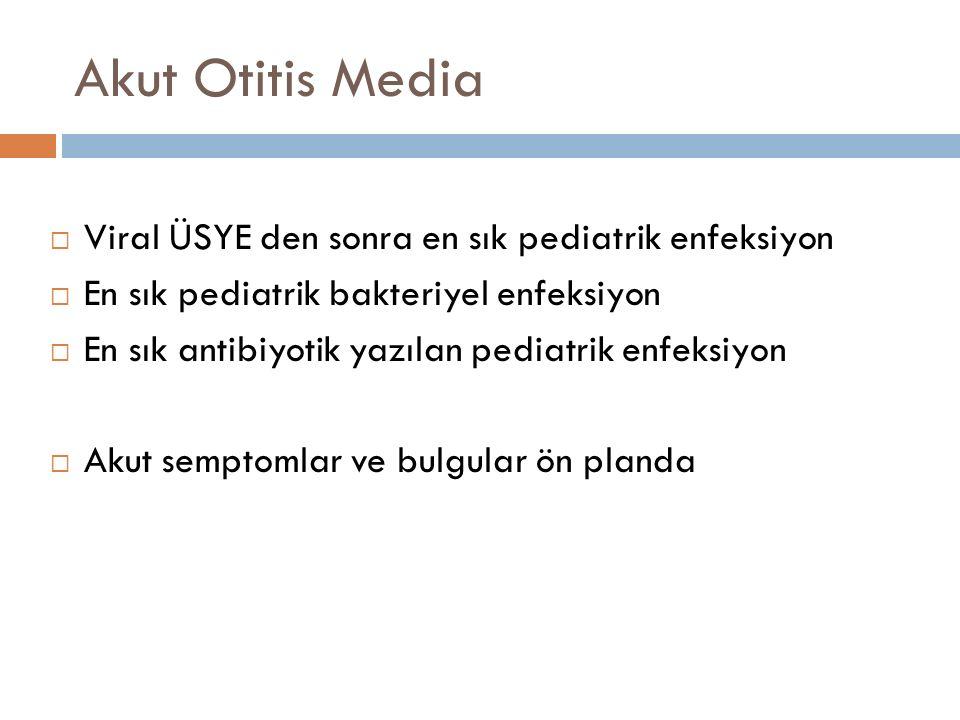 Akut Otitis Media Viral ÜSYE den sonra en sık pediatrik enfeksiyon