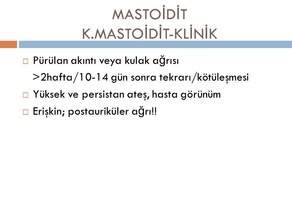 MASTOİDİT K.MASTOİDİT-KLİNİK