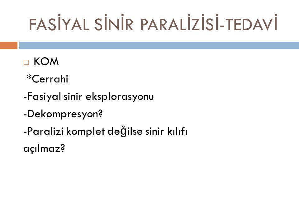 FASİYAL SİNİR PARALİZİSİ-TEDAVİ