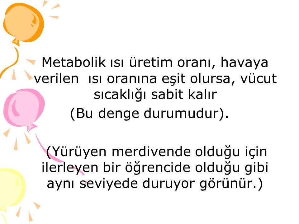 Metabolik ısı üretim oranı, havaya verilen ısı oranına eşit olursa, vücut sıcaklığı sabit kalır