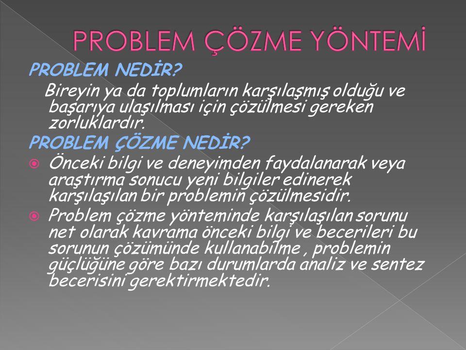 PROBLEM ÇÖZME YÖNTEMİ PROBLEM NEDİR