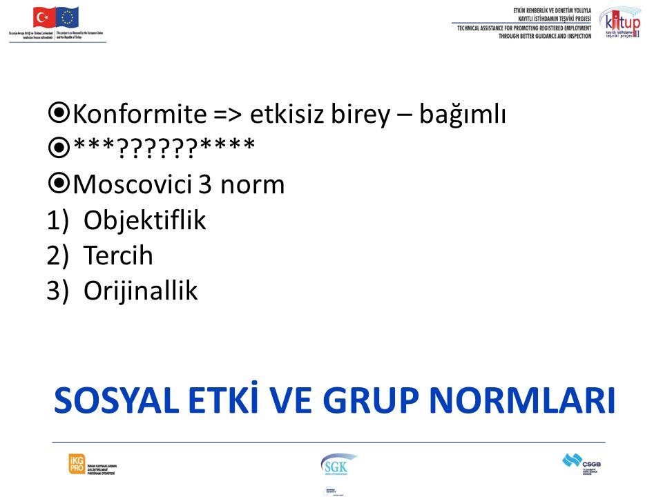 SOSYAL ETKİ VE GRUP NORMLARI
