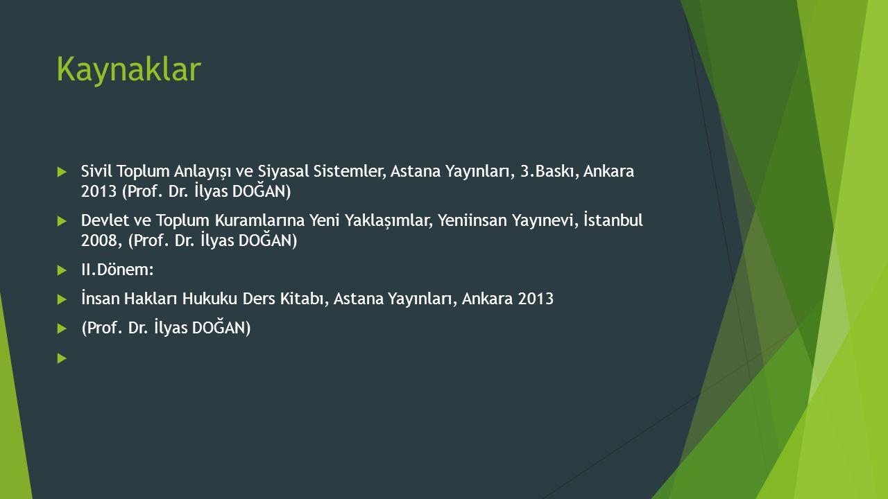 Kaynaklar Sivil Toplum Anlayışı ve Siyasal Sistemler, Astana Yayınları, 3.Baskı, Ankara 2013 (Prof. Dr. İlyas DOĞAN)