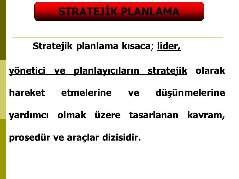 STRATEJİK PLANLAMA Stratejik planlama kısaca; lider,