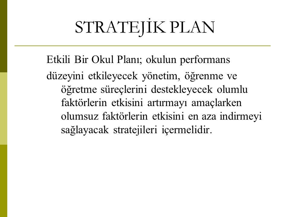 STRATEJİK PLAN Etkili Bir Okul Planı; okulun performans