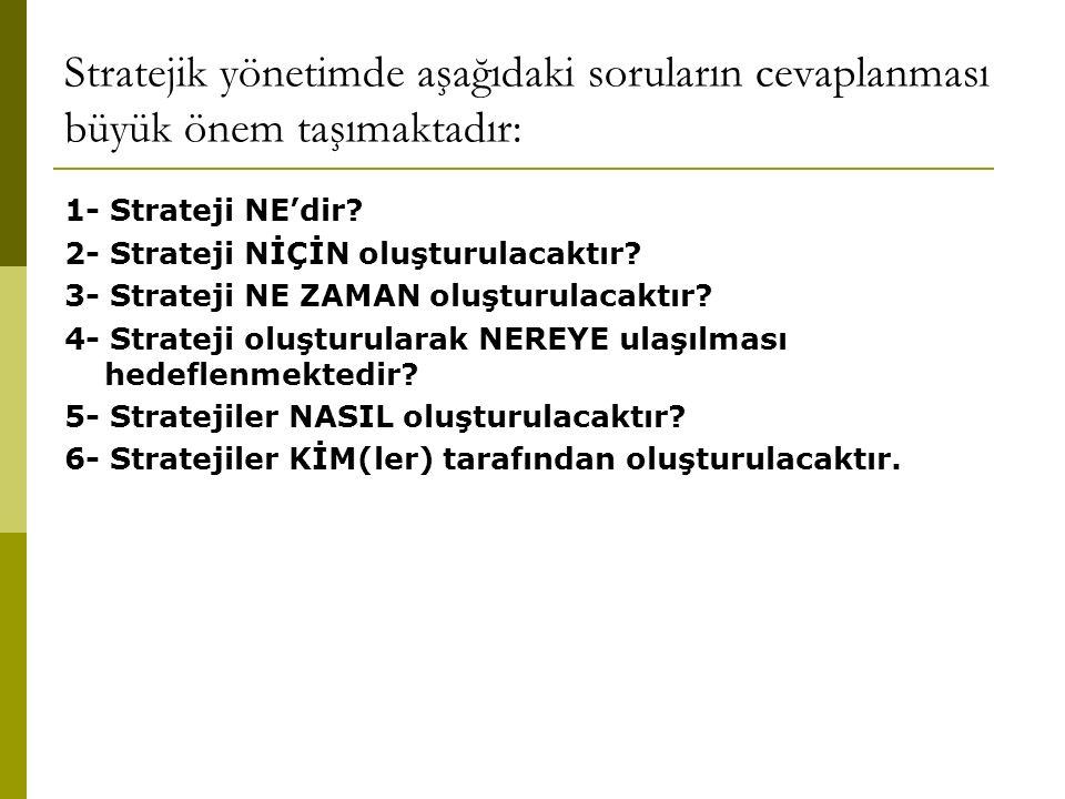 Stratejik yönetimde aşağıdaki soruların cevaplanması büyük önem taşımaktadır: