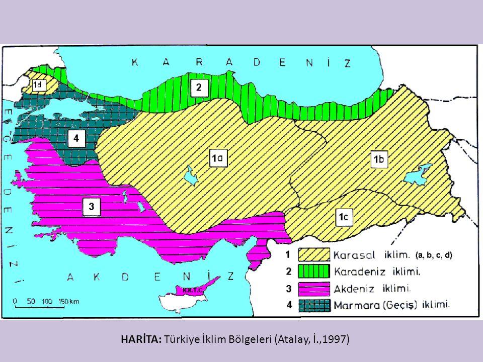 HARİTA: Türkiye İklim Bölgeleri (Atalay, İ.,1997)