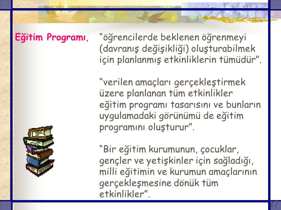 Eğitim Programı,. öğrencilerde beklenen öğrenmeyi