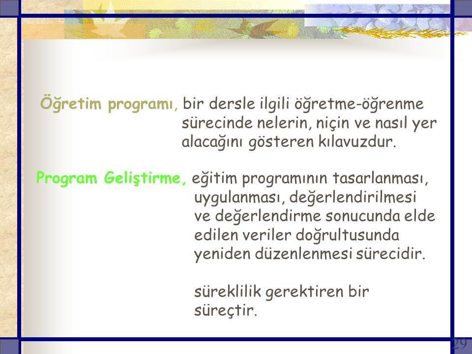Öğretim programı, bir dersle ilgili öğretme-öğrenme