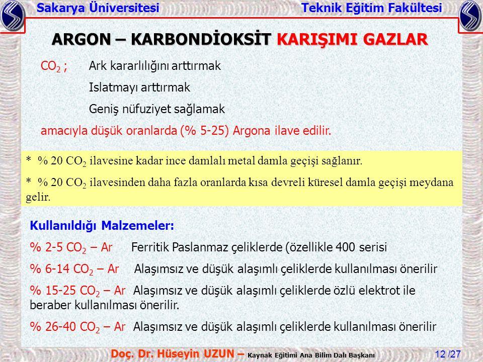 ARGON – KARBONDİOKSİT KARIŞIMI GAZLAR