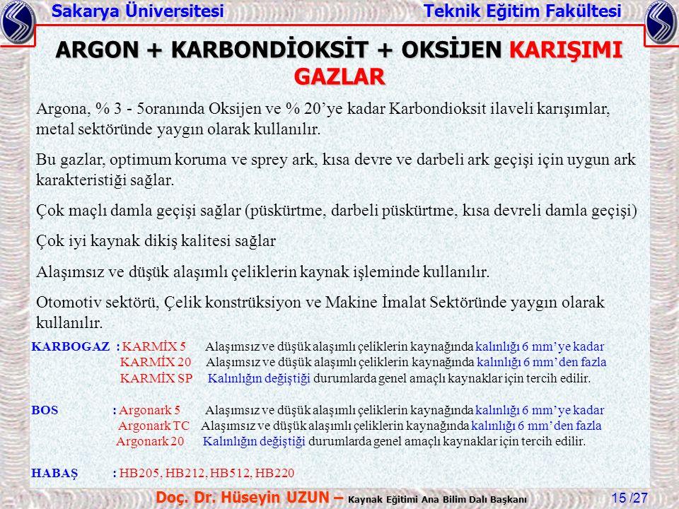 ARGON + KARBONDİOKSİT + OKSİJEN KARIŞIMI GAZLAR