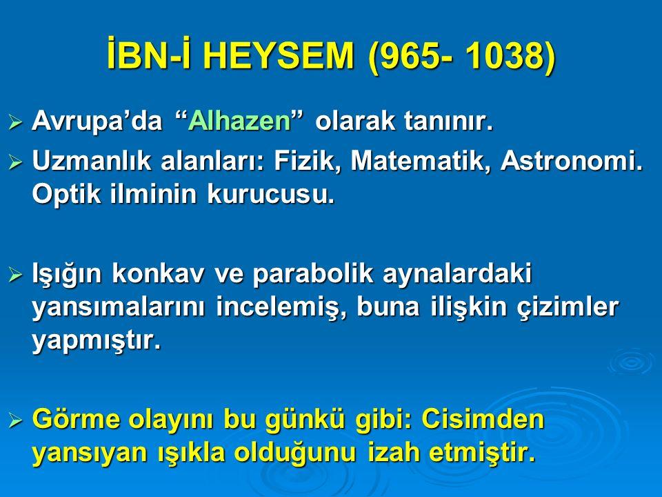 İBN-İ HEYSEM (965- 1038) Avrupa'da Alhazen olarak tanınır.