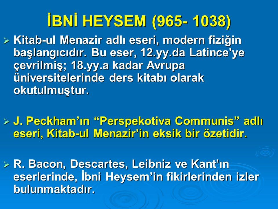 İBNİ HEYSEM (965- 1038)
