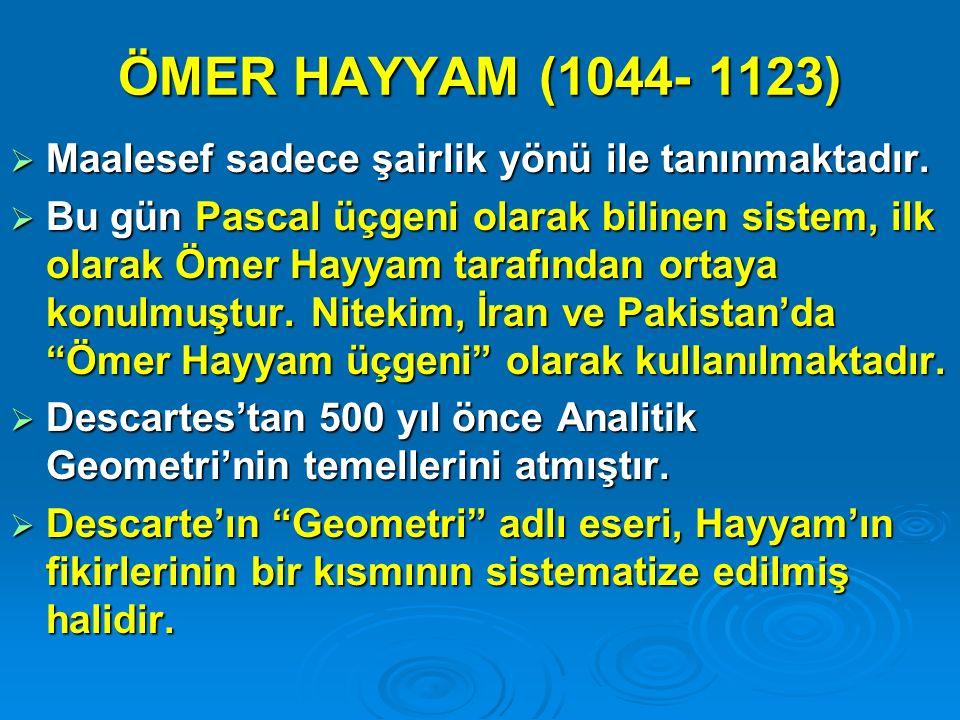 ÖMER HAYYAM (1044- 1123) Maalesef sadece şairlik yönü ile tanınmaktadır.