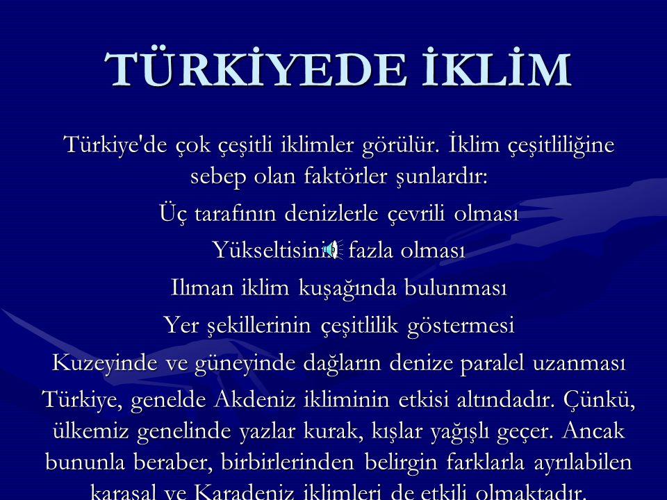 TÜRKİYEDE İKLİM Türkiye de çok çeşitli iklimler görülür. İklim çeşitliliğine sebep olan faktörler şunlardır: