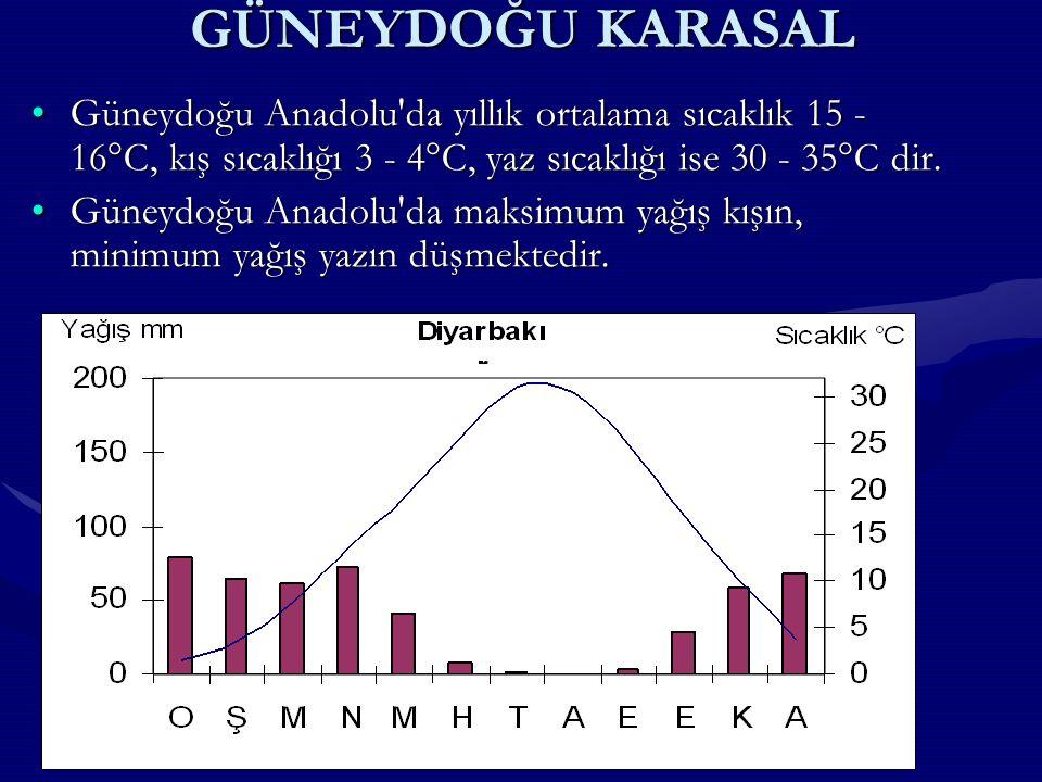 GÜNEYDOĞU KARASAL Güneydoğu Anadolu da yıllık ortalama sıcaklık 15 - 16°C, kış sıcaklığı 3 - 4°C, yaz sıcaklığı ise 30 - 35°C dir.