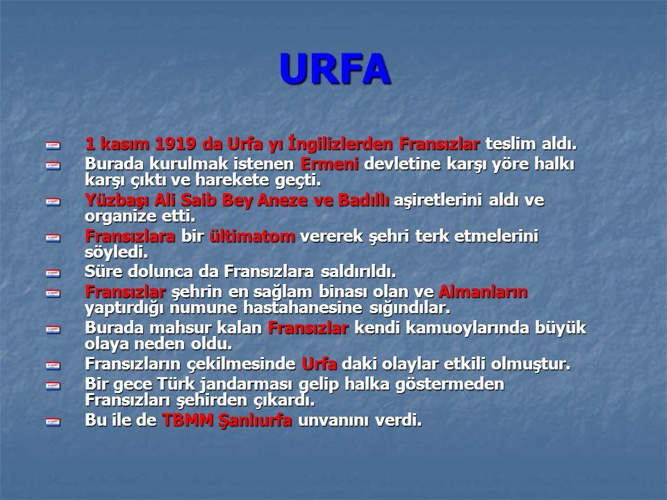 URFA 1 kasım 1919 da Urfa yı İngilizlerden Fransızlar teslim aldı.