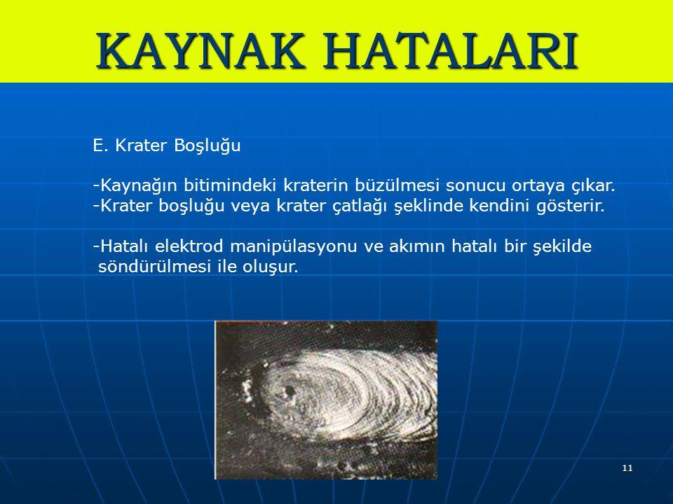KAYNAK HATALARI E. Krater Boşluğu