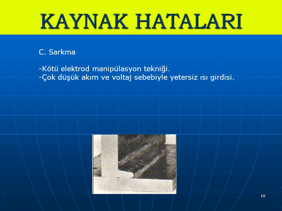 KAYNAK HATALARI C. Sarkma Kötü elektrod manipülasyon tekniği.