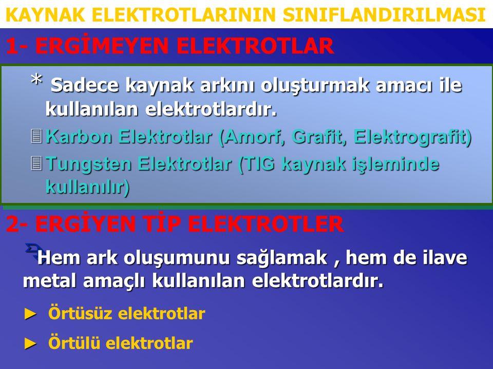 * Sadece kaynak arkını oluşturmak amacı ile kullanılan elektrotlardır.