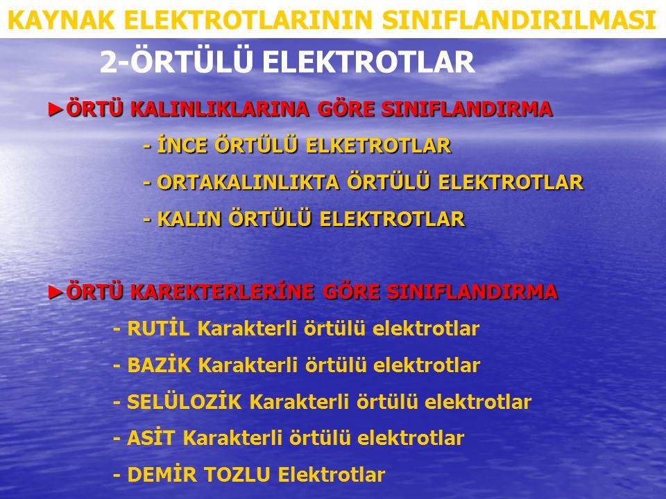 2-ÖRTÜLÜ ELEKTROTLAR KAYNAK ELEKTROTLARININ SINIFLANDIRILMASI