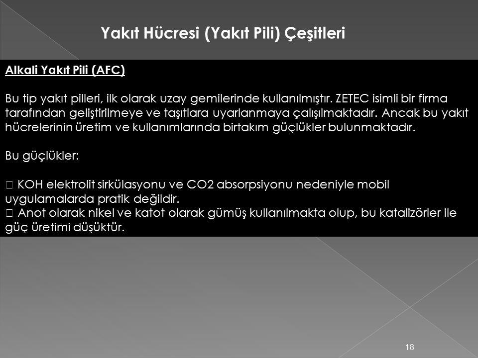 Yakıt Hücresi (Yakıt Pili) Çeşitleri