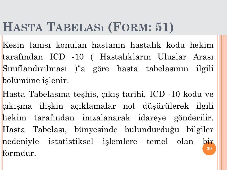 Hasta Tabelası (Form: 51)