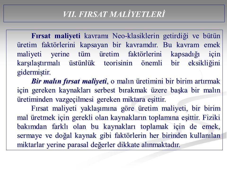 VII. FIRSAT MALİYETLERİ