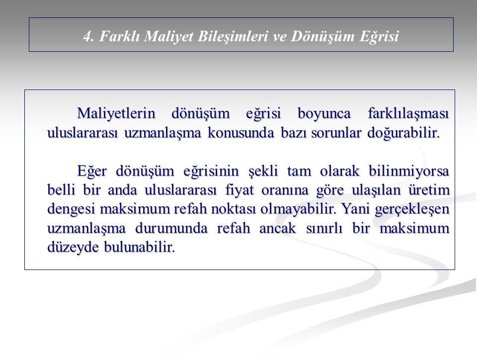 4. Farklı Maliyet Bileşimleri ve Dönüşüm Eğrisi