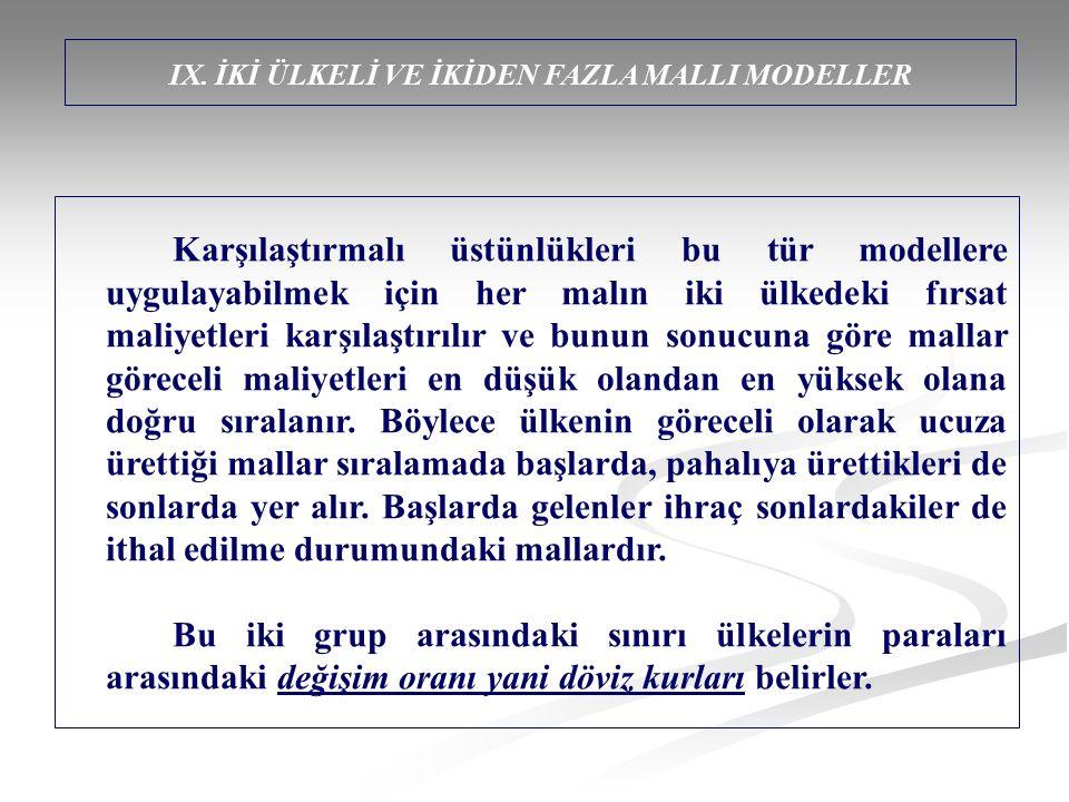 IX. İKİ ÜLKELİ VE İKİDEN FAZLA MALLI MODELLER