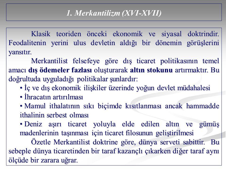 1. Merkantilizm (XVI-XVII)