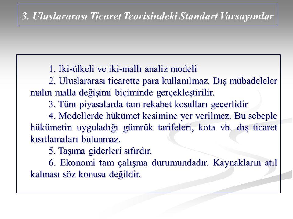 3. Uluslararası Ticaret Teorisindeki Standart Varsayımlar