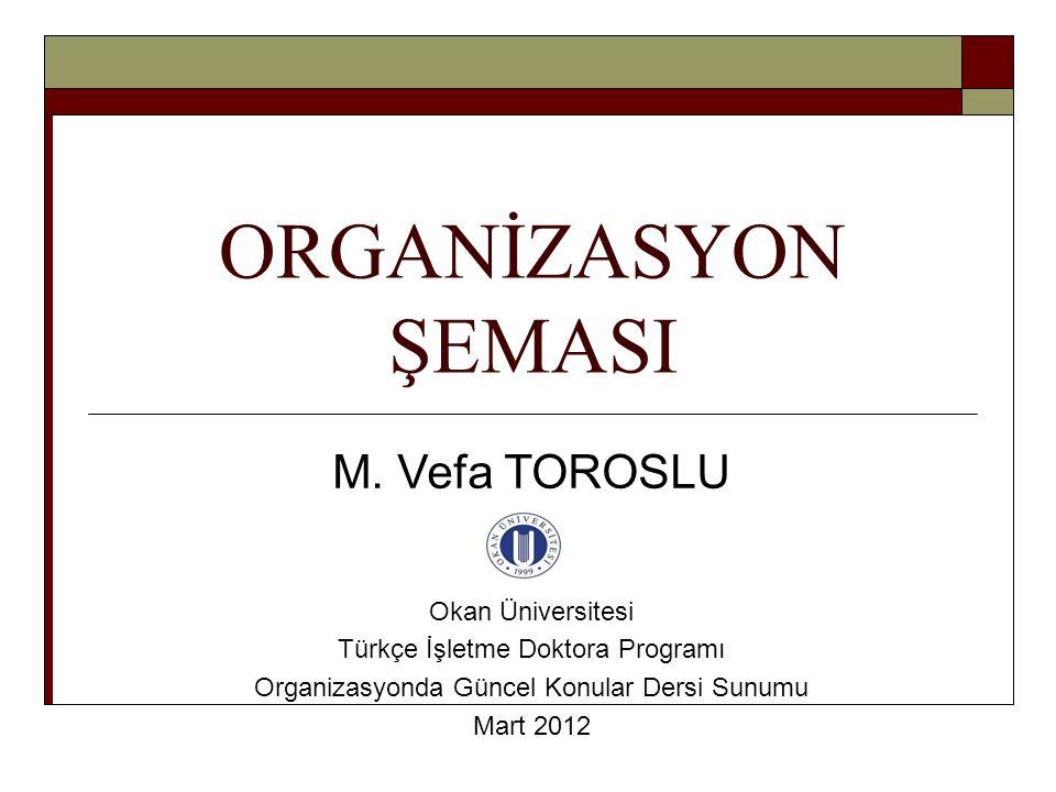 ORGANİZASYON ŞEMASI M. Vefa TOROSLU Okan Üniversitesi