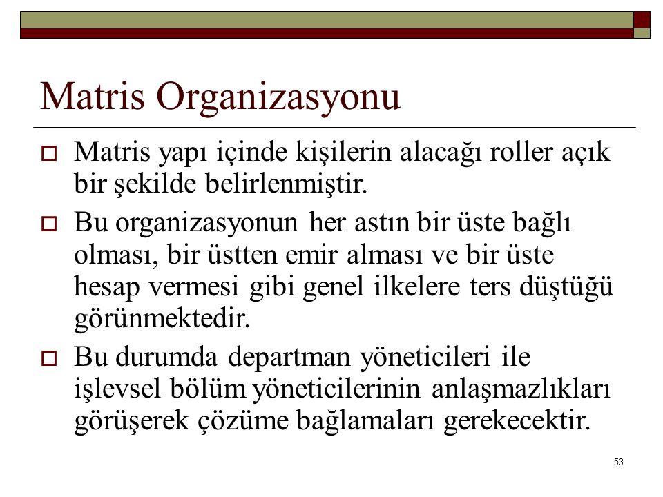 Matris Organizasyonu Matris yapı içinde kişilerin alacağı roller açık bir şekilde belirlenmiştir.