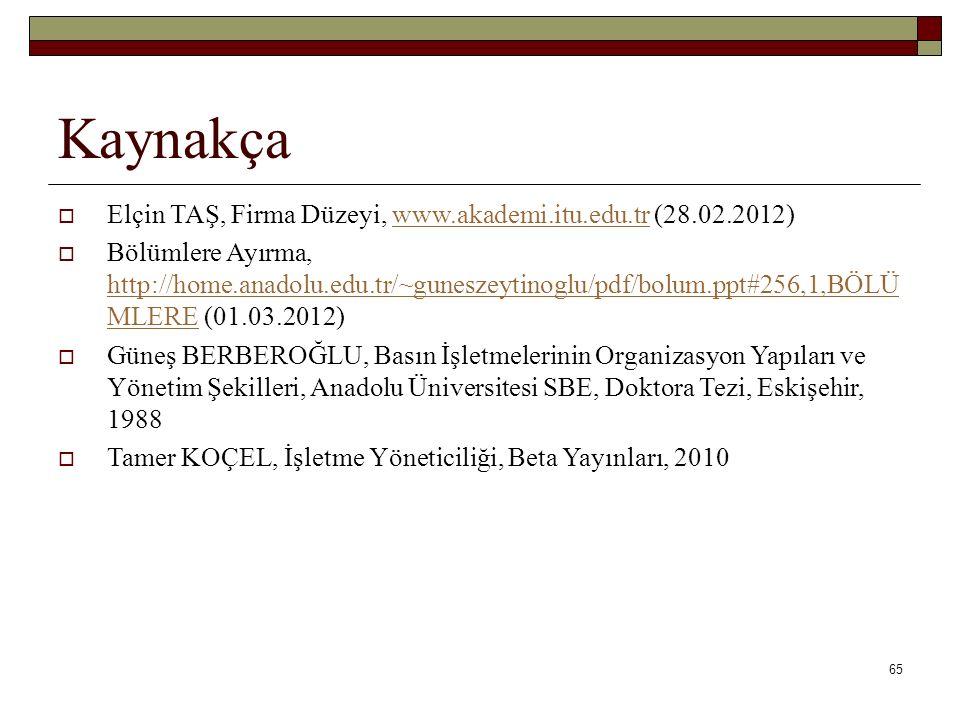 Kaynakça Elçin TAŞ, Firma Düzeyi, www.akademi.itu.edu.tr (28.02.2012)